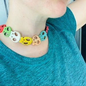 Colorful Skull Head Choker Necklace